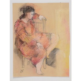 Original Signed Israeli Art Figurative Pastel Drawing on Paper by BATYA MAGAL