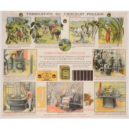 Original Vintage French Poster Showing Chocolat Fabrication ca. 1900