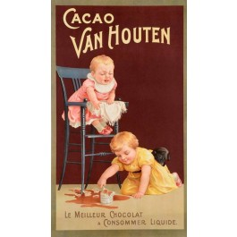 "French Chocolate Advertising Poster for ""CACAO VAN HOUTEN"" 1920's"
