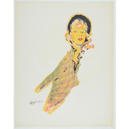 "Original Vintage French Lithograph ""La Parisienne"" by GABRIEL DOMERGUE"