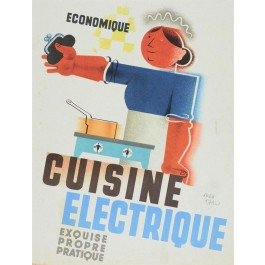 "Original Vintage French Advertising Poster ""Cuisine Electrique"" by J. Carlu"