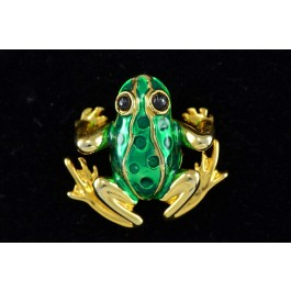 Vintage FROG Gold-tone Green Enamel Pin Brooch