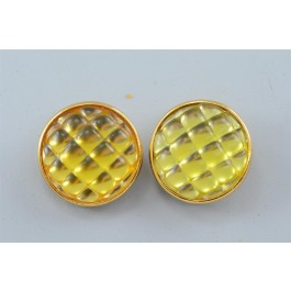 Vintage Sonia Rykiel Button Gold Tone Clip On Earrings Yellow Rhinestone