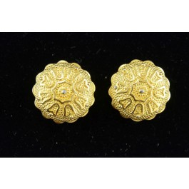 Vintage Costume Jewllery Gold-tone Button Clip-on Earings