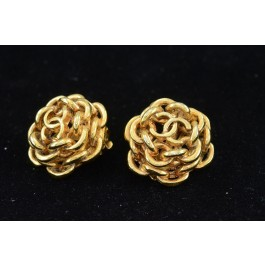 Vintage Costume Gold-tone Jewellery Clip-on Earrings By Chanel