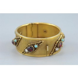 Gold-tone Hinged Cuff Bracelet with Color Glass Stones
