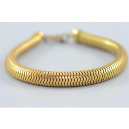 Vintage Costume Jewelry ELEGANT Snake Scale Flexible Gold-tone Bracelet