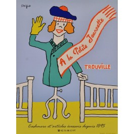 "Original Vintage French Advertising Travel Poster ""Trouville"" by Savignac ca. 1980"