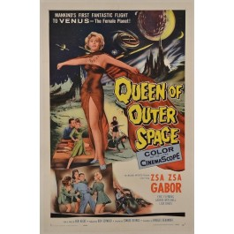 "Original Vintage Movie Poster ""Queen of Outer Space"" Gabor 1958"