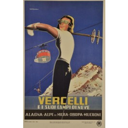 "Vintage Italian Travel Poster ""Vercelli"" by Campagnoli - Later eddition 1960's"