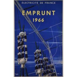 """Original Vintage French Poster """"Eectricite de France - Emprunt 1966"""" by Villemot & Tauzin"""