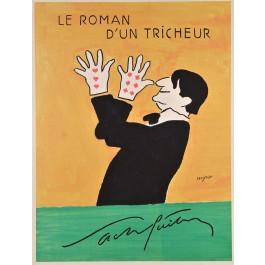 """Original Vintage French Movie Poster """"Le roman d'un tricheur"""" by Savignac"""