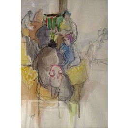 "Original Israeli Art Signed Watercolor ""Women at the Cafe"" by Tarkay 1989 Rare!!!"