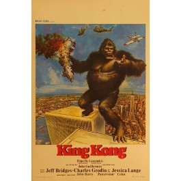 "Authentic Vintage French Poster by John Berkey ""King Kong"" 1976"