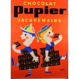 """French Chocolate Poster """"Chocolat Pupier"""" by Morvan"""