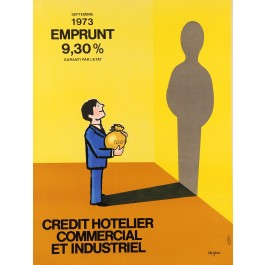 "Original Vintag French Poster ""Credit Hotelier"" by Savignac 1973"