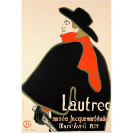 Original vintage poster by Toulouse-Lautrec for the exhibition held in Paris 1959