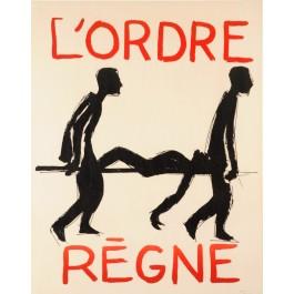 """Original Vintage French 1968 Student Revolution Poster """"L'ORDRE REGNE"""""""