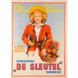 """Original Vintage Carboard Poster advertising """"De Sleutel"""" by D. Rudeman ca. 1950"""