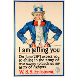 "Original Vintage American Poster ""I am Telling You"" Uncle Sam by J.M. Flagg 1918"