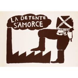 """Original Vintage French Student Revolution Poster """"La Detente S'amorce"""" 1968"""