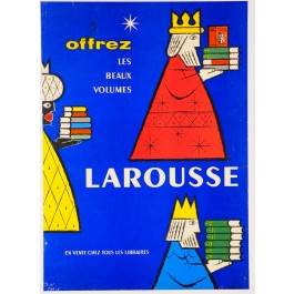 Original Vintage French Poster advertising Larousse Publishing by Carlu ca. 1960