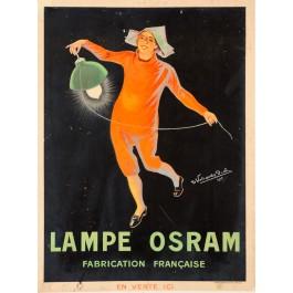 """French Advertising Poster """"Osram Light Bulb"""" Signed"""