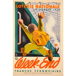 "Original French Vintage Poster ""Loterie Nationale""  -  WEEK-END by Derouet Lesacq 1939"