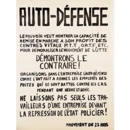 "Original Vintage French Student Revolution ""AUTO – DEFENSE"" 1968"