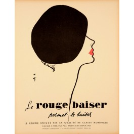 "Original Vintage French Poster for ""Rouge Baiser"" by Gruau 1980's"