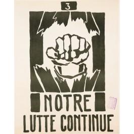 "Original Vintage French 1968 Student Revolution Poster ""Notre Lutte Continue"""