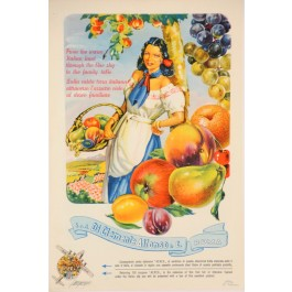 "Original Vintage Italian Advertising Poster for ""Di Clemente Alfonso & Co. Roma"" Fruits 1940's"