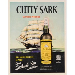 "Original Vintage Small Poster Advertising ""Cutty Sark"" Scotch Whiskey 1930-40's"