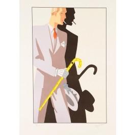Original Vintage Art Deco Lithograph Study of a Gentleman ca. 1925