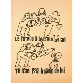 "Original Vintage French Student Revolution Poster ""Le Patron"" 1968   SOLD !!"