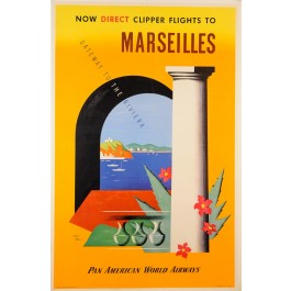"Original Vintage French Travel Poster for ""Pan American - Marseilles"" by Jean Carlu ca. 1920"