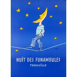 "Original Vintage French Poster ""Nuit des Funambules Trouville"" by Savignac"