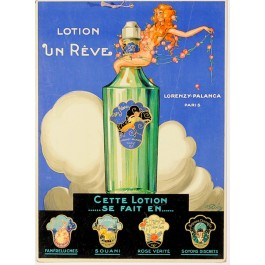 "Original Cosmetics Vintage Advertising Poster ""Lotion un Reve"" by R. Dion"