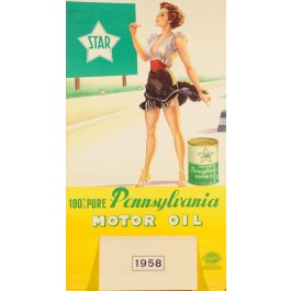 "Original Vintage Advertising Poster Calendar for ""Pennsylvania"" Car Motor Oil"