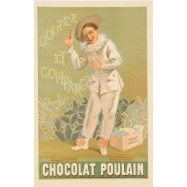 """Original Advertising Poster for """"Chocolat Poulain"""" by Firmin Bouisset 1892"""