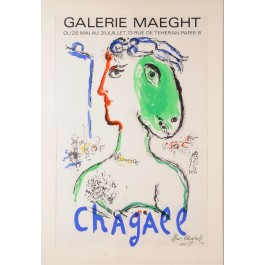Original Signed Lithograph Poster by Mark Chagall Printed by Galerie Maeght 1972