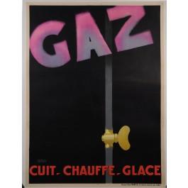 "Original Vintage French Art Deco Poster ""GAZ"" by Francis Bernard ca. 1930"