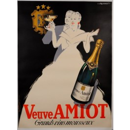 """Original Vintage French Alcohol Advertising Poster """"Veuve Amiot"""" by Falcucci"""