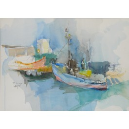 "Signed Watercolour Painting ""Fishermen Bay """