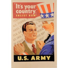 "American II World War Propaganda Poster ""I want you for US Army!"""