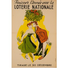 """Original Vintage Loterie Nationale Poster """"The Kiss"""" ca.1960"""