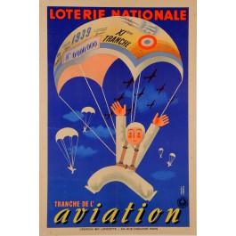 """Original Vintage Loterie Nationale Poster """"Tranche des Vacances"""" 1952"""