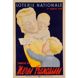 "Original Vintage Loterie Nationale Poster ""Meres Francaises"" 1940"