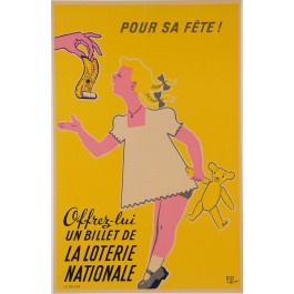 "Original Vintage Loterie Nationale Poster ""Pour Sa FETE!"" by M. Pineau"