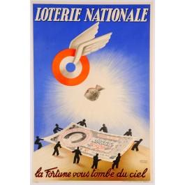 """Loterie Nationale Poster """"Grand Prix de Paris"""" by Derouet & Lesacq 1938"""